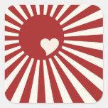 Amor de Japón Calcomanía Cuadradas Personalizadas