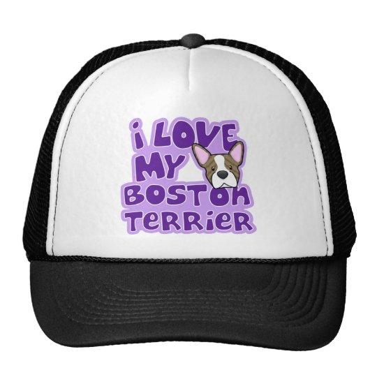 Amor de Kawaii I mi Boston Brindle Terrier Gorras