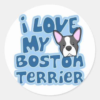Amor de Kawaii I mi Boston Terrier Pegatina Redonda