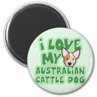 Amor de Kawaii I mi perro australiano del ganado ( Imán Redondo 5 Cm