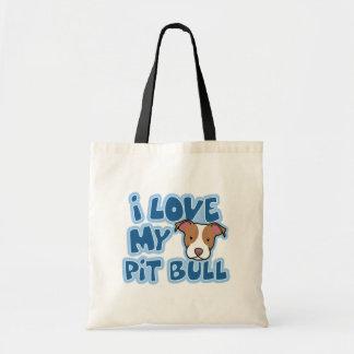 Amor de Kawaii I mi pitbull Bolsas De Mano