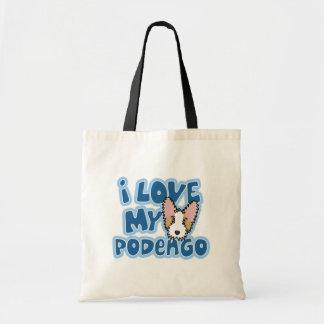Amor de Kawaii I mi Podengo portugués Bolsa Lienzo