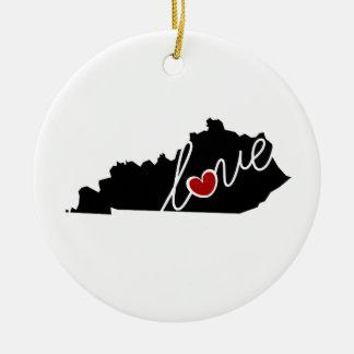 ¡Amor de Kentucky!  Regalos para los amantes de KY Adorno Navideño Redondo De Cerámica