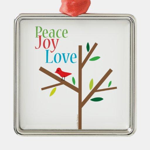 Amor de la alegría de la paz adorno navideño cuadrado de metal