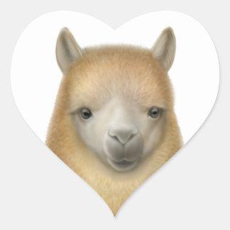 Amor de la alpaca pegatina en forma de corazón