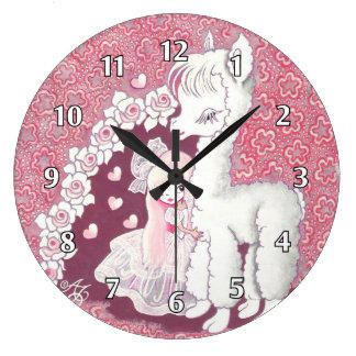 Amor de la alpaca reloj redondo grande