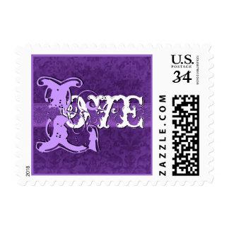 AMOR de la apariencia vintage de la púrpura real q Sello