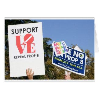 Amor de la ayuda, no odio - no en el apoyo 8 tarjeta de felicitación