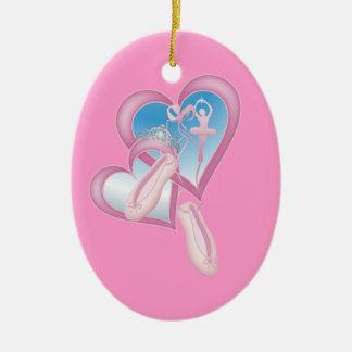 Amor de la bailarina adorno navideño ovalado de cerámica