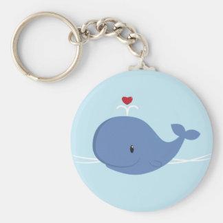 Amor de la ballena llavero redondo tipo pin