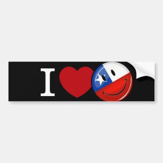 Amor de la bandera chilena sonriente de Chile Pegatina Para Auto