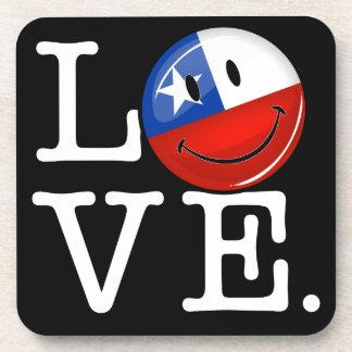 Amor de la bandera chilena sonriente de Chile Posavasos De Bebidas
