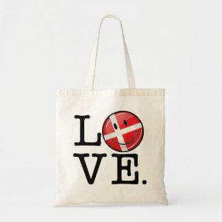 Amor de la bandera sonriente de Dinamarca Bolsa Tela Barata