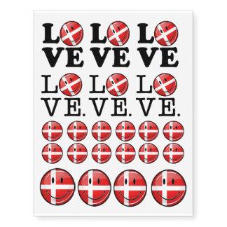 Amor de la bandera sonriente de Dinamarca Tatuajes Temporales