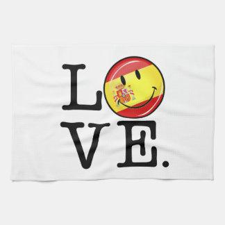 Amor de la bandera sonriente de España Toalla De Cocina