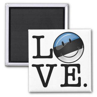 Amor de la bandera sonriente de Estonia Imán Cuadrado