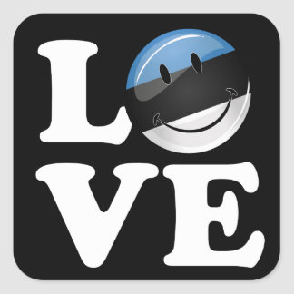 Amor de la bandera sonriente de Estonia Pegatina Cuadrada