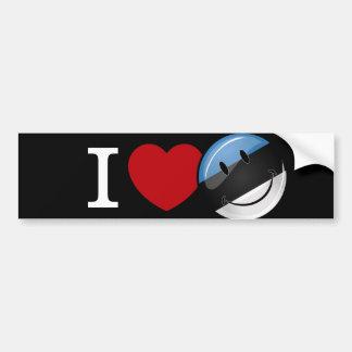 Amor de la bandera sonriente de Estonia Pegatina Para Auto
