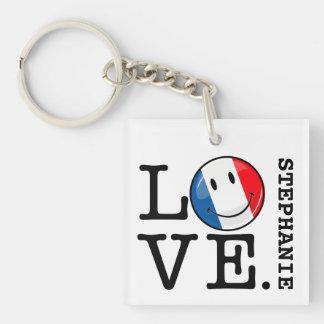 Amor de la bandera sonriente de Francia Llavero Cuadrado Acrílico A Una Cara