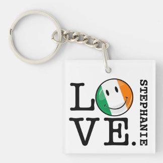 Amor de la bandera sonriente de Irlanda Llavero Cuadrado Acrílico A Una Cara