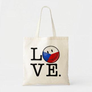 Amor de la bandera sonriente de la República Checa Bolsa Tela Barata