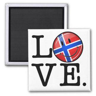 Amor de la bandera sonriente de Noruega Imán Cuadrado