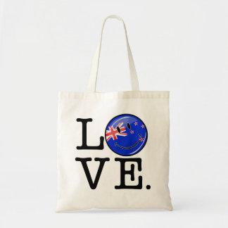 Amor de la bandera sonriente de Nueva Zelanda Bolsa Tela Barata