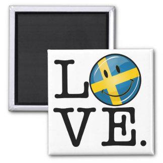 Amor de la bandera sonriente de Suecia Imán Cuadrado