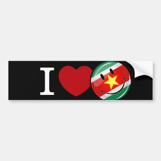 Amor de la bandera sonriente de Suriname Pegatina Para Auto
