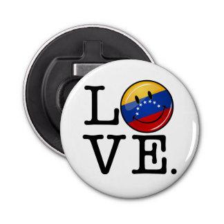 Amor de la bandera sonriente de Venezuela Abrebotellas Redondo
