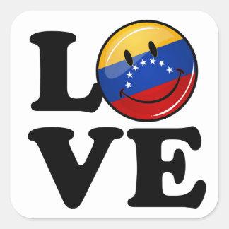 Amor de la bandera sonriente de Venezuela Pegatina Cuadrada
