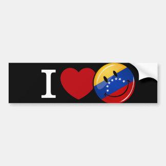 Amor de la bandera sonriente de Venezuela Pegatina Para Auto