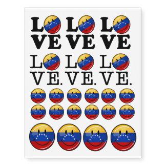 Amor de la bandera sonriente de Venezuela Tatuajes Temporales
