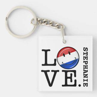 Amor de la bandera sonriente holandesa llavero cuadrado acrílico a una cara