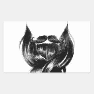 Amor de la barba pegatina rectangular