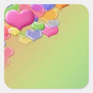Amor de la burbuja pegatinas cuadradas personalizadas