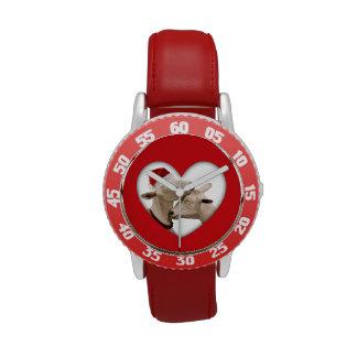 Amor de la cabra en el navidad relojes de pulsera