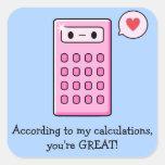 Amor de la calculadora pegatina cuadradas personalizada