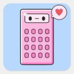 Amor de la calculadora calcomanías cuadradass personalizadas
