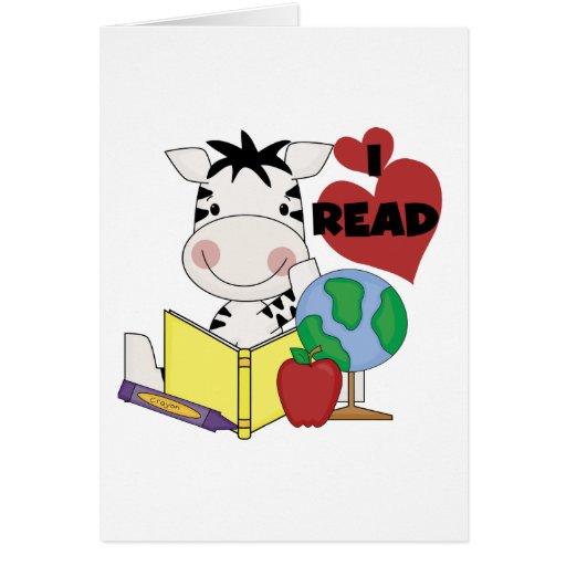 Amor de la cebra para leer las camisetas y los reg tarjeta de felicitación