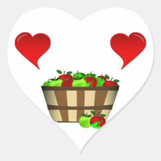 Amor de la cesta de Apple Pegatinas De Corazon