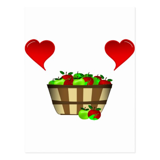 Amor de la cesta de Apple Postales