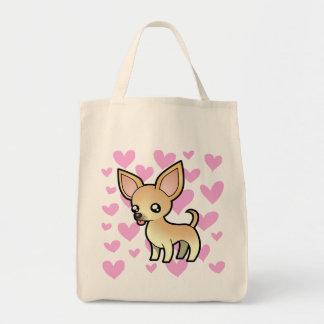 Amor de la chihuahua (capa lisa) bolsa tela para la compra