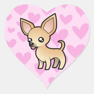 Amor de la chihuahua (capa lisa) pegatina en forma de corazón