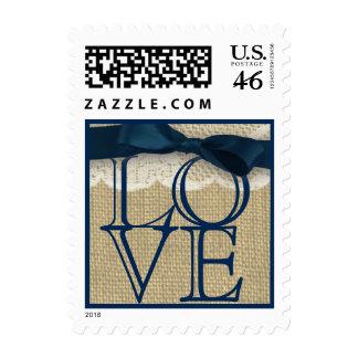 Amor de la cinta y de la arpillera de azules marin sello