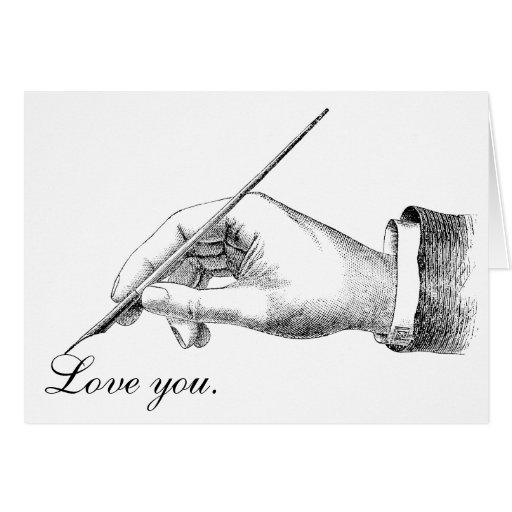 Amor de la escritura de la mano usted tarjeton