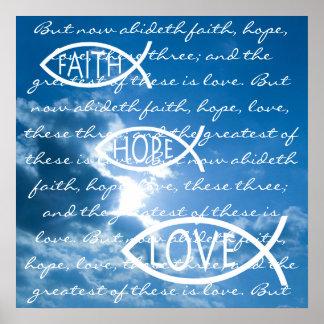 AMOR de la ESPERANZA de la FE - 1 Corinthians 13;  Posters