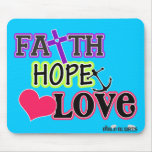 Amor de la esperanza de la fe (azul) tapete de raton