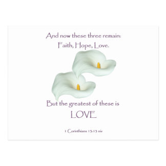 Amor de la esperanza de la fe del 13:13 de los tarjetas postales