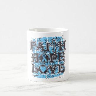 Amor de la esperanza de la fe del cáncer de prósta tazas de café
